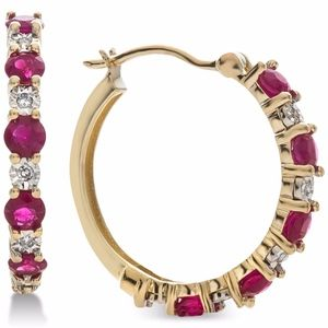 NWT 14K Gold, Ruby & Diamond Hoop Earrings
